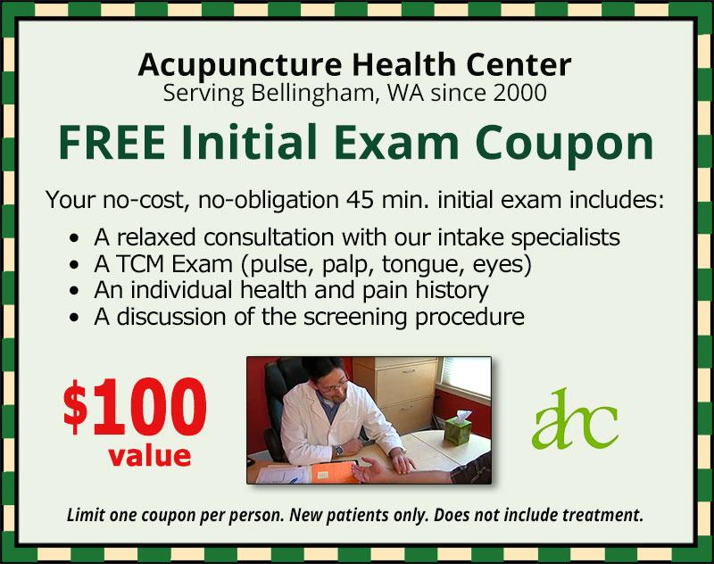 FREE Initial Acupuncture Exam Coupon